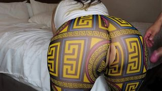 Latina with a big ass in see through leggings